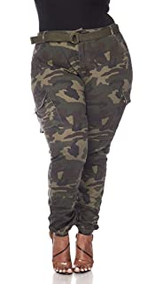 f0a4cff7c4c SOHO GLAM Plus Size Belted Olive Camouflage Cargo Jogger Pants