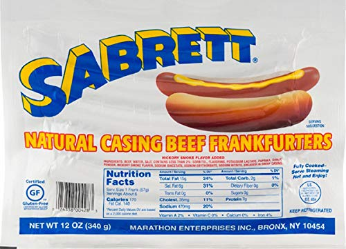 Pack of 3 Sabrett Natural Casing Beef Frankfurters