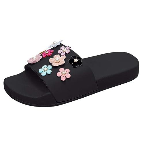 Fuibo Hausschuhe Damen Sommer Frauen Mode Blume Flache Dicke