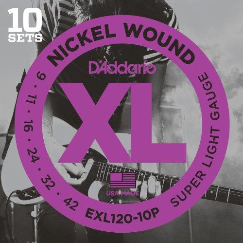 D'Addario EXL120-10P Nickel Wound Electric Guitar Strings, Super Light, 9-42, 10 Sets Daddario Exl120 Electric Guitar Strings