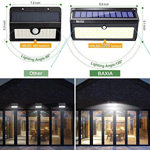 Wireless Outdoor Garage Lights: BAXIA TECHNOLOGY Solar Lights Outdoor, Wireless 100 LED
