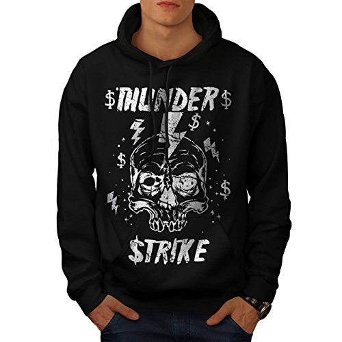 [Skull Thunder Strike Lightning Men XXXL Hoodie | Wellcoda] (Thunder Lightning Costume)
