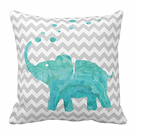 Standard Pillowcase Teal Watercolor Elephant Chevron Pillow Sham for Sofa 18 x 18