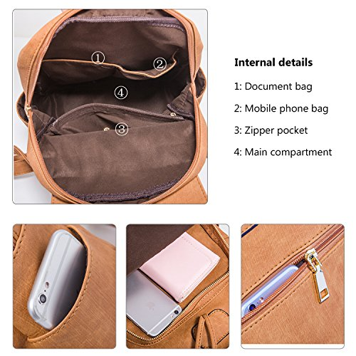 Fashion Shoulder Bag Rucksack PU Leather Women Girls Ladies Backpack Travel bag (Brown) by PlasMaller (Image #5)