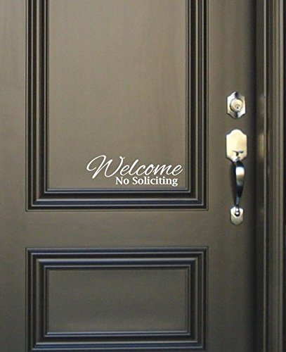 HUANYI Welcome No Soliciting Sign Vinyl Decal Sticker - Script - Front Door Window