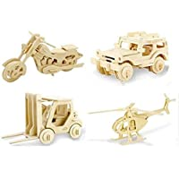 Vehicle Toys Old Version Car Forklift Helicopter Motor DIY 3D Cut Model Kit Wooden Puzzle Toy for Kids Home Decoration