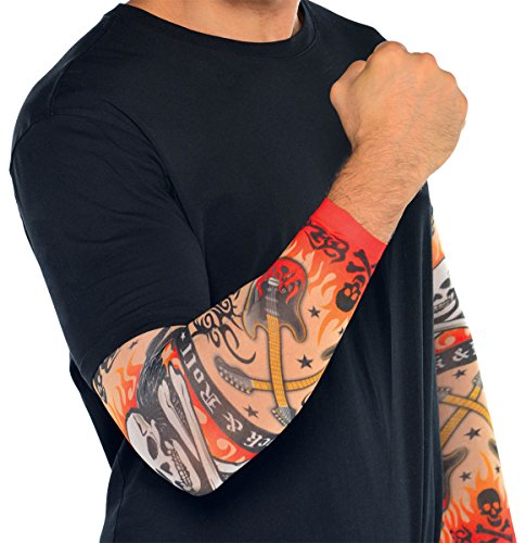 amscan Rock On Heavy Metal Themed Party Tattoo Sleeves Accessory, Fabric, Standard Adult Size, Pack of -