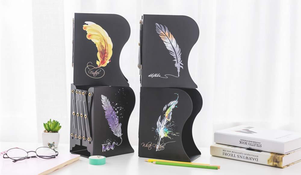 Fermalibri artistico design moderno in metallo pesante Zymy antiscivolo Black+Purple B decorativi regolabile