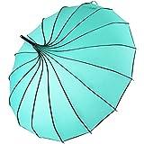 Kung Fu Smith Women Vintage Polka Dots Travel Stick Rain Pagoda Parasol Umbrella (Turquoise)