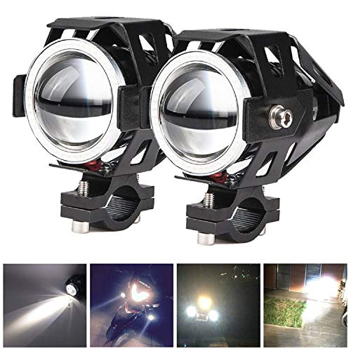 (2x Motorcycle Headlights CREE U5 DRL Fog Driving Lamps Lights -HOCOLO Motorcycle LED Bulbs for Cars Bike Boat ATV Front Spotlights High/Dim/Strobe 3 Modes Included 1x Switch 30W 6500K White)