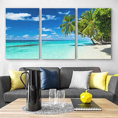 for Living Room Bedroom Home Artwork Paintings Romantic Beach x 3 Panels