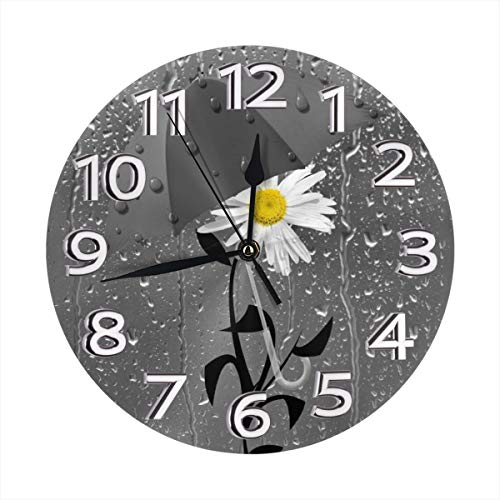 Yanghl Yellow Gray Bathroom Yellow Daisy Flower Print Round Wall Clock Decorative, 9.8 Inch Silent Non Ticking Home Office School Decorative Clock Art ()