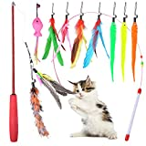 Oziral Cat Teaser Retractable Cat Toy Feather Teaser Cat Toy 10 Cat Wand Feather Interactive Toys with Beads Bells and Feather Refills Set for Cat and Kitten