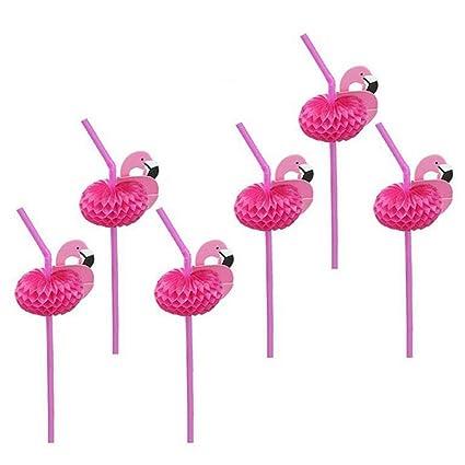 Amazon.com: YaptheS 50 pajitas de flamenco rosas de plástico ...