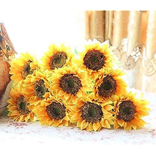 Sunflower wedding decorations amazon elefan 24 artificial sunflower bridal wedding bouquet latex silk flower bouquets 10pcs junglespirit Image collections