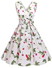 Dresstells Vintage 1950s Solid Color V Neck Retro Swing Dress With Bow Tie