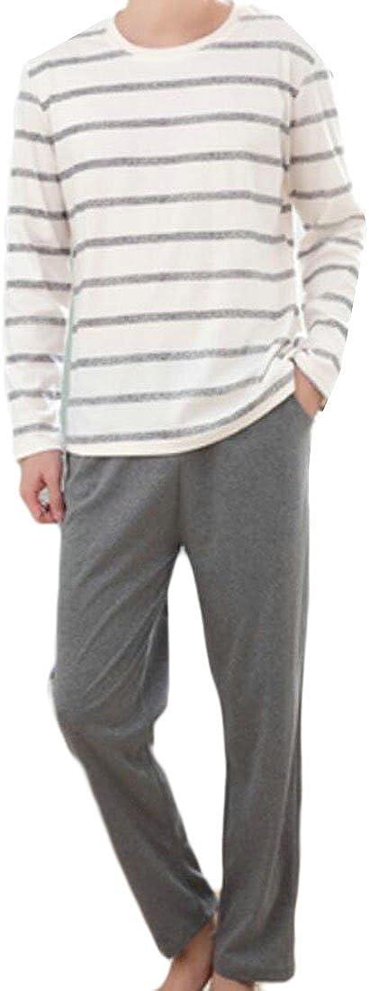 S-Fly Mens Homewear Stripe T-Shirt Top Cotton Bottom Pajama Set Sleepwear