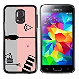 UPPERHAND ( NOT FOR S5 Regular )Stylish Image Picture Smartphone Hard Rugged Case Cover For Samsung Galaxy S5 Mini, SM-G800 - pink abstract grey stairs grey black