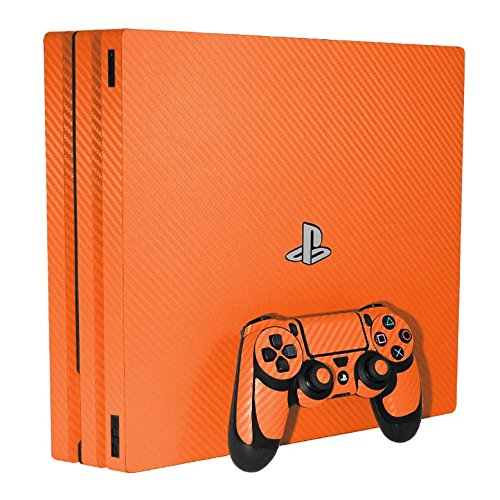 3D Carbon Fiber Orange - Air Release Vinyl Decal Faceplate Mod Skin Kit for Sony PlayStation 4 Pro Console by System Skins