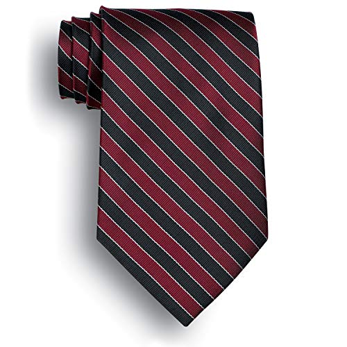 Signature Stripes Polyester Tie - West India - Navy, Maroon, Gray