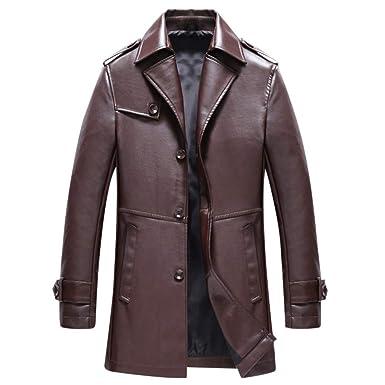 be024e7c19322 Magiyard Hommes Automne Hiver La Mode Longueur Moyenne Couleur Pure Simili  Cuir Manteau  Amazon.fr  Vêtements et accessoires