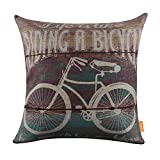 "LINKWELL 18""x18"" Retro Wood Slat Look Classic Bike Bicycle Monogram Burlap Cushion Covers Pillow Case"