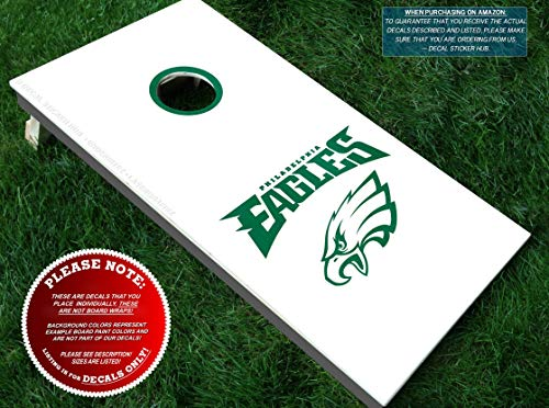 (Eagles Cornhole Decals | HALF SET | Color Choice | Large Decals + Ring Sticker | DIY Cornhole Board Building & Decorating | Decal Sticker)