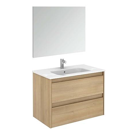 Ambra 80 Pack 1 Nordic Oak Wall Mounted Bathroom Vanity Unit With Mirror