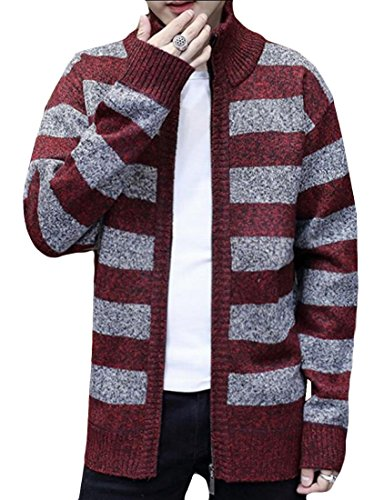 Women's Wine Full Zipper amp;S Print amp;W Sweater M Warm Strip Cardigan Winter Red ATWR6Uq
