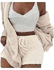 Macondoo Womens Solid 3 Pieces Fleece Outfits Coat and Crop Top Shorts Pajamas Set