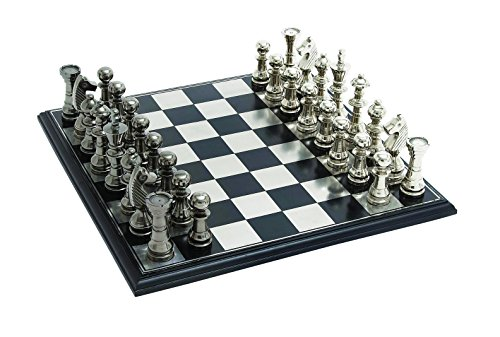 Plutus Brands Sleek and Attractive Chess Set with Polish Aluminum Pieces and Stainless Steel Plated Wooden - Set Chess Steel Stainless