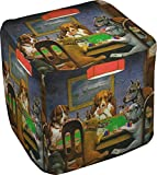 Dogs Playing Poker 1903 C.M.Coolidge Cube Pouf Ottoman - 13''