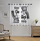 iPrint Stylish Window Curtains,Western,Modern Western Movies Cowboy Texas Times Sketchy Style Two Guns Pistols,Black Pale Grey,2 Panel Set Window Drapes,for Living Room Bedroom Kitchen Cafe