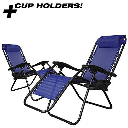 PARTYSAVING Infinity Zero Gravity Outdoor Lounge Patio Folding Reclining Chair Set of 2 APL1015 W/ Cupholder (Blue)