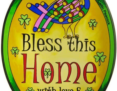 16cm Stained Glass Hanging Decoration with Bless this House... Design