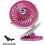 [Update Version with 6.5 Ft Micro USB Charging Cable] Glovion Baby Clip Stroller Fan - USB Rechargeable Portable Fan for Indoor and Outdoor-Pink