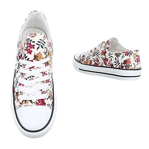 Ital-Design - Zapatillas de tela para mujer Weiß Multi BL45
