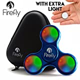 Helium K Firefly Lighted LED Fidget Spinner - with Custom Protective Carry Case Prime Light Up Spinning Fidget Toys for Kids & Adults - Relax from Stress & Anxiety (Blue)