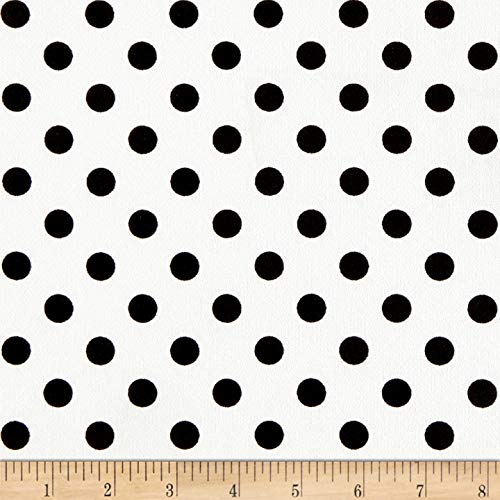 (Fabric Liverpool Double Knit Polka Dot Black on Off White Fabric by the Yard)