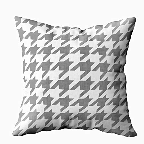 Houndstooth Gift - Musesh classic houndstooth pattern in grey and white Cushions Case Throw Pillow Cover For Sofa Home Decorative Pillowslip Gift Ideas Household Pillowcase Zippered Pillow Covers 18X18Inch