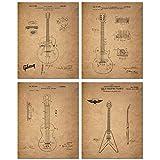 Gibson Guitar Patent Prints - Set of Four 8 x 10 Photos - Les Paul Vintage Decor