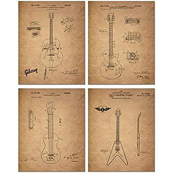 Amazon Com Wallables Black Classic Electric Guitar Patents