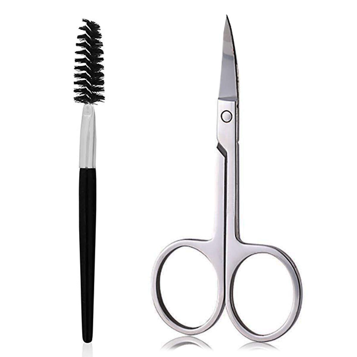 Eyebrow Scissors and Eyebrow Brush by AUMELO - Eyelash Extensions Shaping Curved Craft Stainless Steel Scissors for Your Beauty: Home Improvement