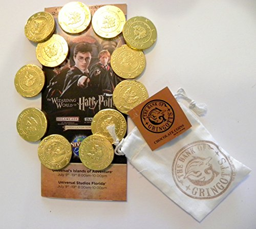 Universal Studios Wizarding World of Harry Potter Diagon Alley Gringot Bank Milk Chocolate Coins Decorative Bag 3. Oz & Commemorative Opening Week Map Gift Set