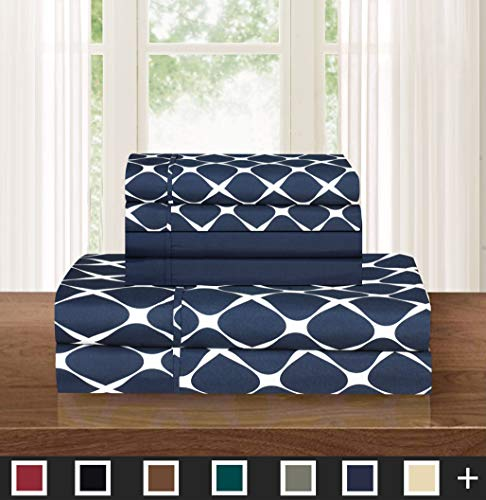 Elegant Comfort Luxury Softest 6-Piece Sheet, Wrinkle Resistant Milano Trellis Pattern 1500 Thread Count Egyptian Quality Coziest Bedding Set, King, Navy Blue (Blue Bedding Elegant)