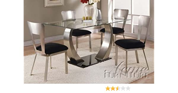 Amazoncom 5pc Dining Table And Chairs With Metal Base In Chrome