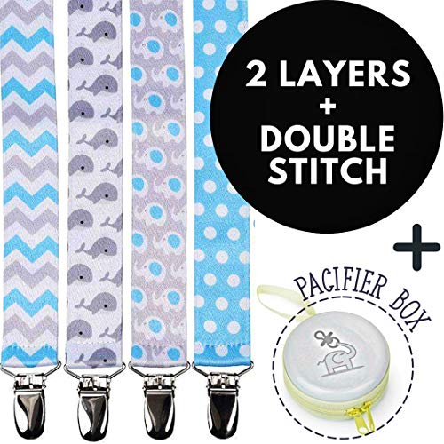 Pacifier Clips Holder for Boys + Pacifier Case by Bubble Pleasure - 4 Pieces Pack - Unisex Universal Designs Pacifiers Clips, Newborn Baby Gift Set, Best Cute Soothies Pacifier Holder for Girl Boy ()