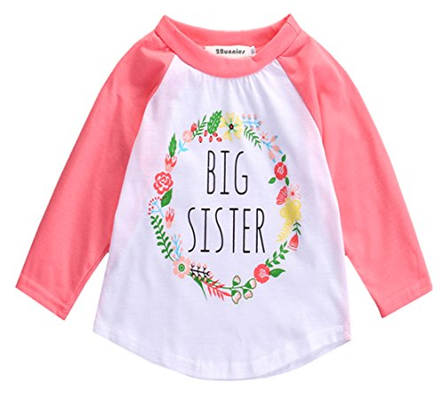 Price comparison product image 2Bunnies Girl Baby Girl Big Sister Flower Floral Wreath Long Sleeve T- Shirt Tee (Pink, 4T)