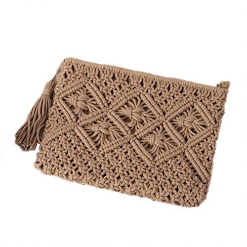 Handbag Handmade Bag Bag Vintage Holding Clutch Purse Summer Woven Hand Dark Sraw Brown Bag Beach Outflower Tassel Cwq7X066