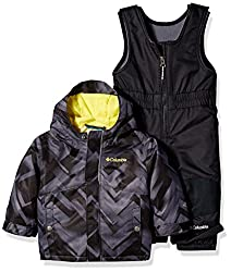 Columbia Baby Buga Snow Set, Black Printmineral Yellow, 12-18 Months